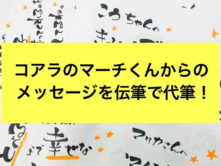 77人への「コアラのマーチくん」の応援メッセージを伝筆が代筆!!報告